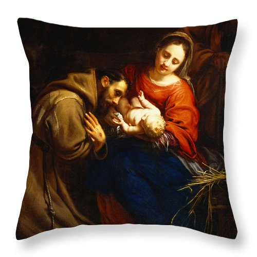 Holy Throw Pillow featuring the painting The Holy Family with Saint Francis by Jacob van Oost