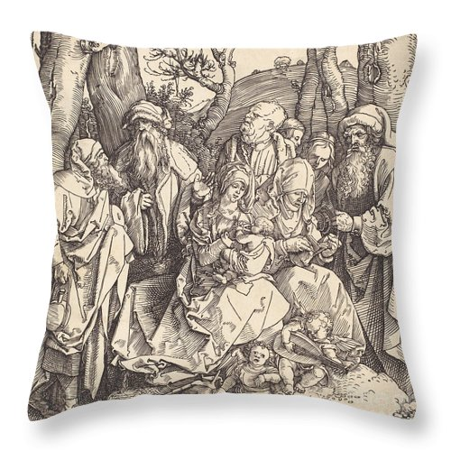 Throw Pillow featuring the drawing The Holy Family With Two Music-making Angels by Albrecht D?rer
