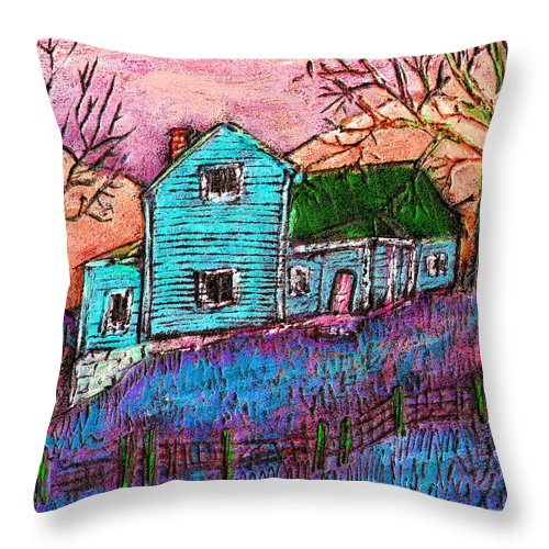 Farm Throw Pillow featuring the painting The Homestead I by Wayne Potrafka