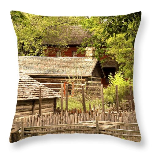 Log Cabins Throw Pillow featuring the photograph The Homestead by Ian MacDonald