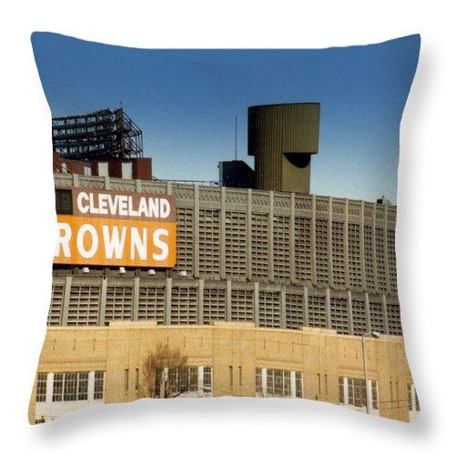 Cleveland Throw Pillow featuring the photograph The Hometeams In Color by Kenneth Krolikowski