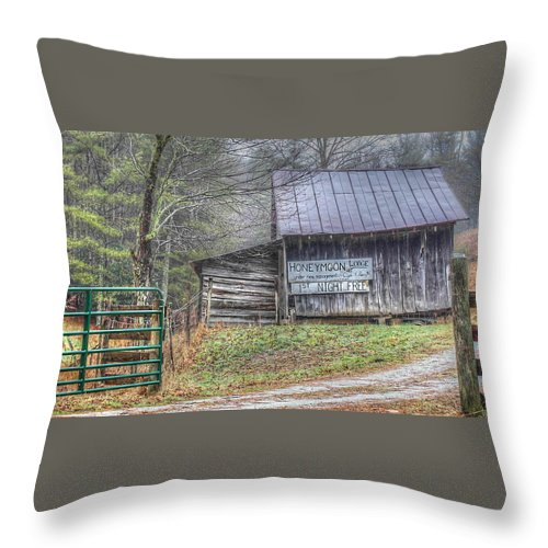 Barn Landscape Throw Pillow featuring the photograph The Honeymoon Lodge by Judy Baird