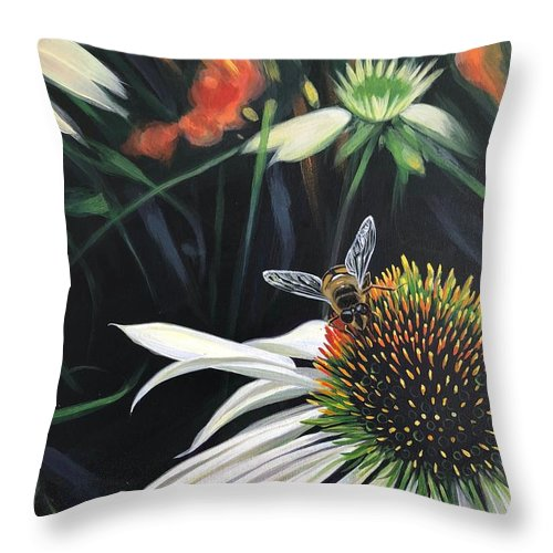 Daisy Throw Pillow featuring the painting The Honeythief by Hunter Jay