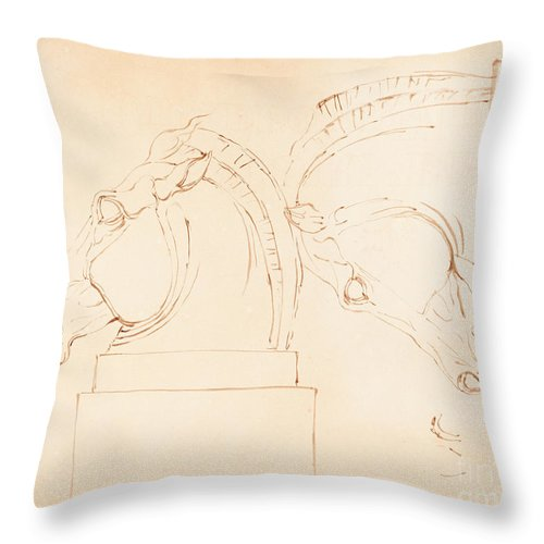Throw Pillow featuring the drawing The Horse Of Selene From The Elgin Marbles [recto] by William Etty