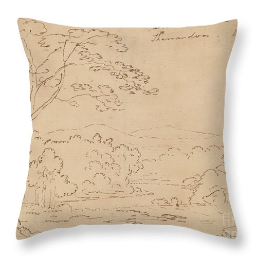 Throw Pillow featuring the drawing The Horse Shoe On The Shanandoa (sic), Virginia by Joshua Shaw