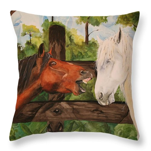 Horse Throw Pillow featuring the painting The Horse Whisperers by Jean Blackmer