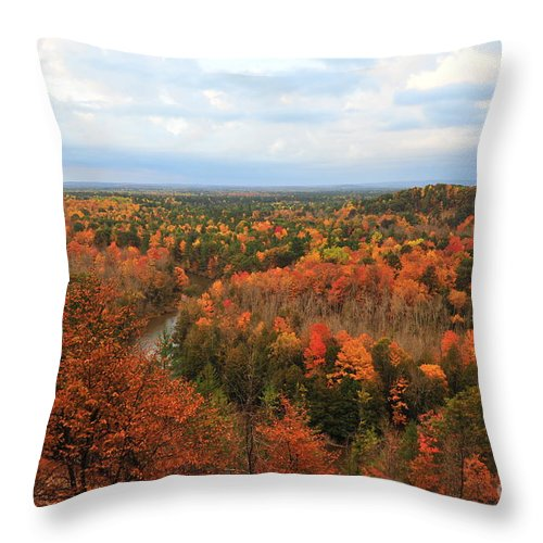 High Rollaways Throw Pillow featuring the photograph The Horseshoe Bend Of The High Rollaways by Terri Gostola