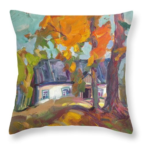 Oil Throw Pillow featuring the painting The House In Chervonka Village by Sergey Ignatenko