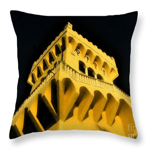 Rapunzel Throw Pillow featuring the painting The House Of Rapunzel by David Lee Thompson