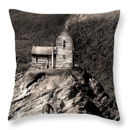 Landscape Throw Pillow featuring the photograph The House Time Forgot by Gray Artus