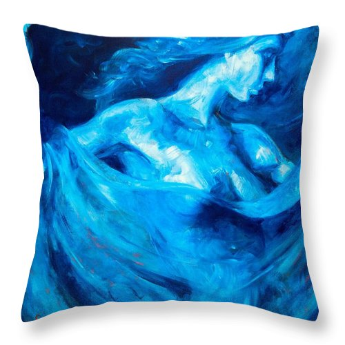 Nude Throw Pillow featuring the painting The Huntress by Jason Reinhardt