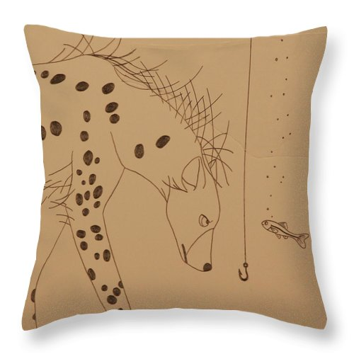 Hyena Throw Pillow featuring the drawing The Hyena Meets The Fish by Michelle Miron-Rebbe