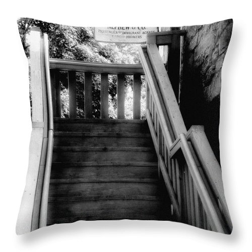 Black And White Throw Pillow featuring the photograph The Immigrant Traders by RC DeWinter