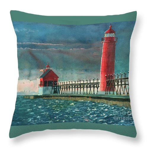 Lighthouses Throw Pillow featuring the painting The Impending Storm by LeAnne Sowa