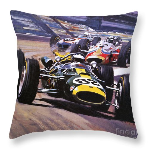 Indy 500 Throw Pillow featuring the painting The Indianapolis 500 by Wilf Hardy