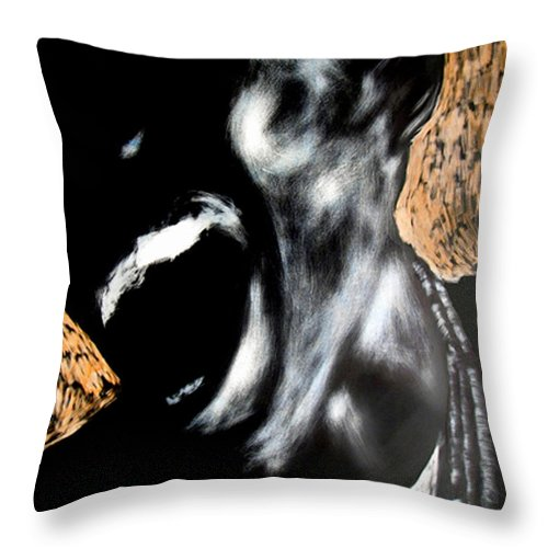 Throw Pillow featuring the mixed media The Initiate by Chester Elmore