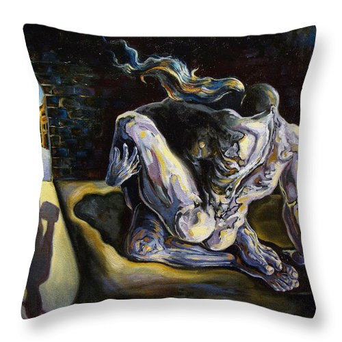 Surrealism Throw Pillow featuring the painting The Internal Affair by Darwin Leon