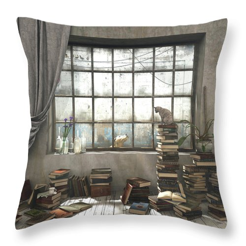 Books Throw Pillow featuring the digital art The Introvert by Cynthia Decker
