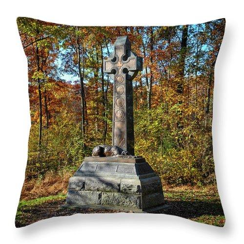 Civil War Throw Pillow featuring the photograph The Irish Brigade by Jen Goellnitz