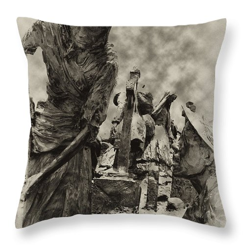Philadelphia Throw Pillow featuring the photograph The Irish Famine by Bill Cannon