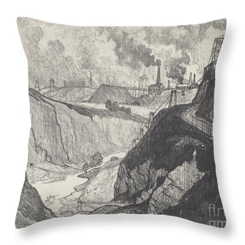 Throw Pillow featuring the drawing The Iron Mine by Joseph Pennell