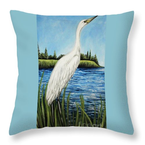 Landscape Throw Pillow featuring the painting The Island's Egret by Elizabeth Robinette Tyndall
