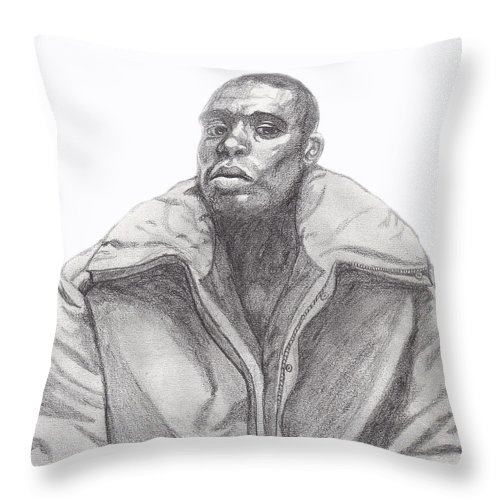Jacket Throw Pillow featuring the drawing The Jacket by Jean Haynes