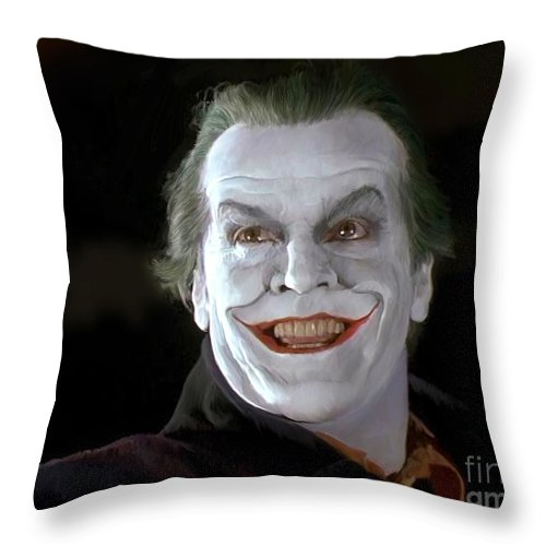 Batman Throw Pillow featuring the painting The Joker by Paul Tagliamonte