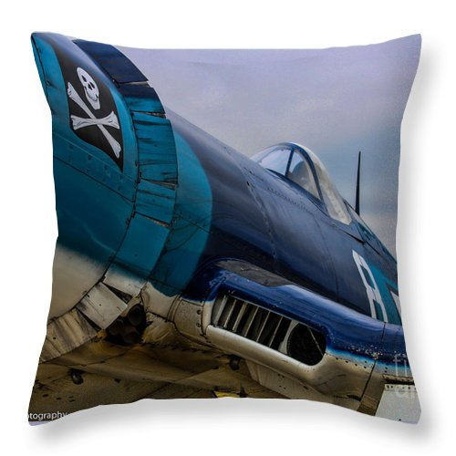Vought F4u-1 Corsair Throw Pillow featuring the photograph The Jolly Roger by Tommy Anderson