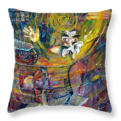 Figures Throw Pillow featuring the painting The Journey by Peggy Blood