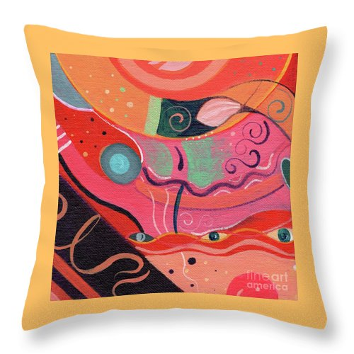 The Joy Of Design Xlviii Upside Down By Helena Tiainen Throw Pillow featuring the painting The Joy Of Design X L V I I I Upside Down by Helena Tiainen