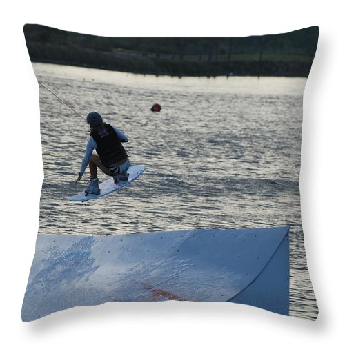 Water Throw Pillow featuring the photograph The Jump by Rob Hans