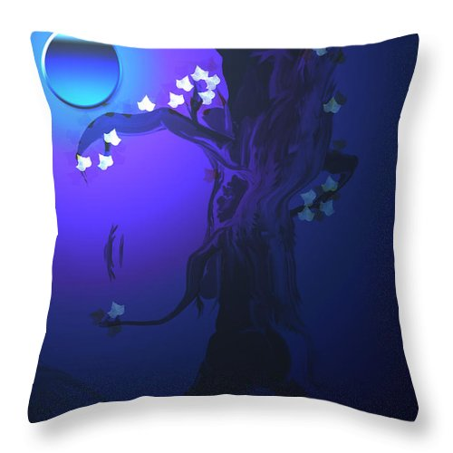 Tree Moon Spider Leaves Blue Feelings Lonely Drawing Dark Throw Pillow featuring the digital art The Keeper by Andrea Lawrence