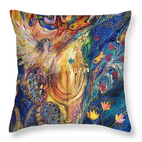 Original Throw Pillow featuring the painting The Keeper Of Menorah by Elena Kotliarker
