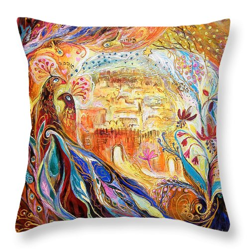 Original Throw Pillow featuring the painting The Keepers Of Old City by Elena Kotliarker
