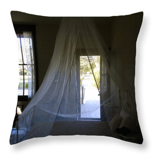 Bedroom Throw Pillow featuring the painting The Key West Bedroom by David Lee Thompson