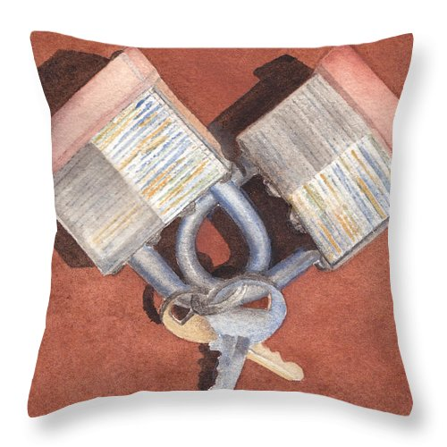 Heart Throw Pillow featuring the painting The Keys To My Heart by Ken Powers