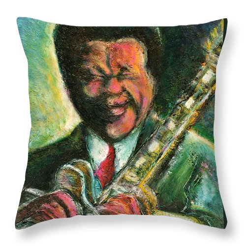 Music Throw Pillow featuring the painting The King And His Guitar by Dennis Tawes