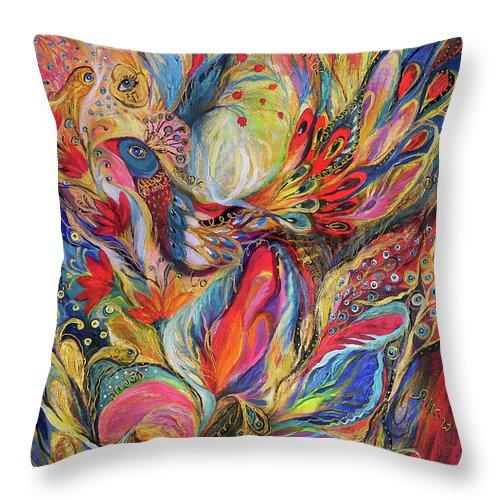 Original Throw Pillow featuring the painting The King Bird by Elena Kotliarker