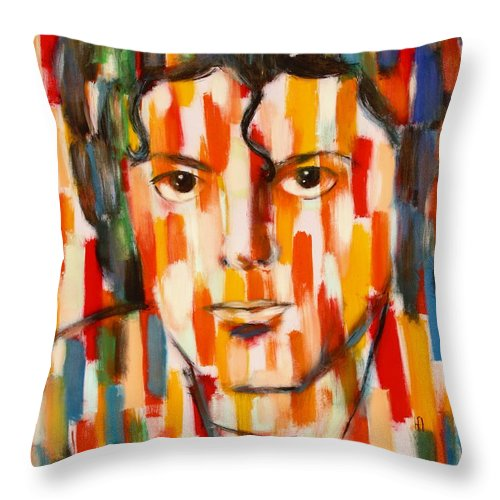 Michael Jackson Throw Pillow featuring the painting the king of pop Michael Jackson by Habib Ayat