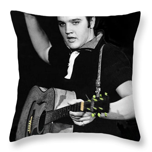 Elvis Throw Pillow featuring the photograph The King Rocks On Xxi by Al Bourassa