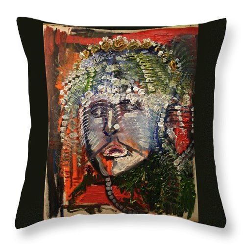 Michael Kulick Throw Pillow featuring the painting The King's Sorrow by Michael Kulick