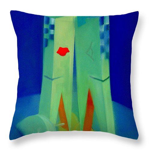 Blue Throw Pillow featuring the painting The Kiss by Charles Stuart
