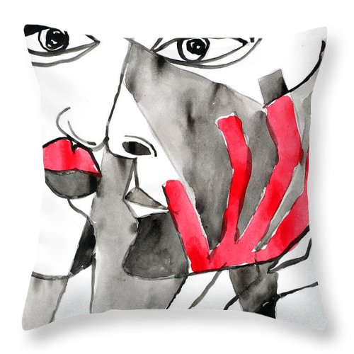 Red Love Black White Abstract Throw Pillow featuring the painting The Kiss In Red by Jorge Berlato