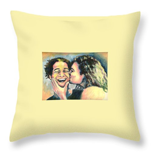 Man Throw Pillow featuring the painting The Kiss by Nicole Zeug