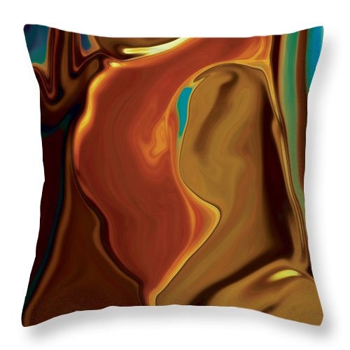 Abstract Art Blue Brown Digital Embrace Figurative Girl Green Kiss Love Man Night Passion Rabi_khan Throw Pillow featuring the digital art The Kiss by Rabi Khan