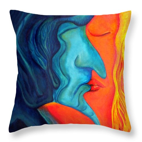 Kiss Love Passion Couple Intensity Blue Orange Fire Lust Sex Throw Pillow featuring the painting The Kiss by Veronica Jackson