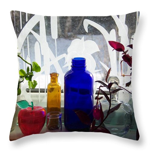 Colored Bottles Throw Pillow featuring the photograph The Kitchen Window Sill by Jackie Mueller-Jones