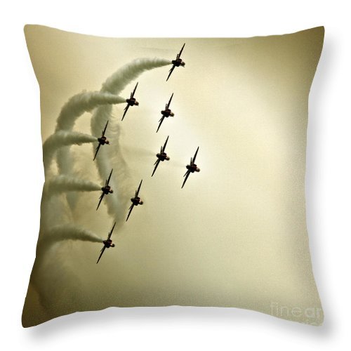 Red Arrows Throw Pillow featuring the photograph The Kite Roll by Angel Ciesniarska