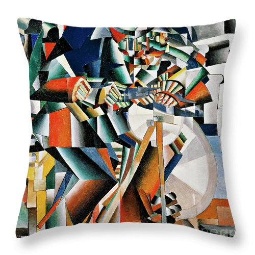 Russian Throw Pillow featuring the painting The Knifegrinder Principle Of Glittering by Kazimir Malevich
